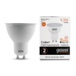 Лампа Gauss LED Elementary MR16 GU10 5.5W 430lm 2700К