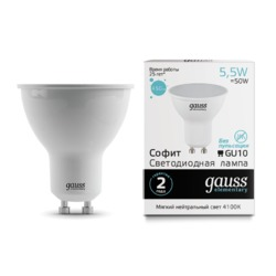 Лампа Gauss LED Elementary MR16 GU10 5.5W 450lm 4100К