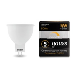 Лампа Gauss LED MR16 GU5.3 5W 500lm 3000K