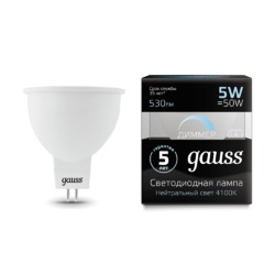 Лампа Gauss LED MR16 GU5.3 5W 530lm 4100K