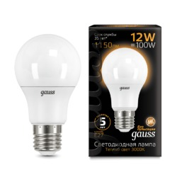 Лампа Gauss LED A60 12W E27 1150lm 3000K