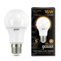 Лампа Gauss LED A60 16W E27 1380lm 3000K