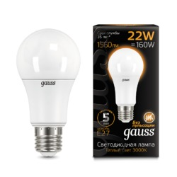 Лампа Gauss LED A70 22W E27 1560lm 3000K