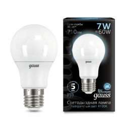 Лампа Gauss LED A60 E27 7W 710lm 4100K