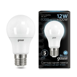 Лампа Gauss LED A60 12W E27 1200lm 4100K