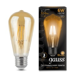 Лампа Gauss LED Filament ST64 E27 6W Golden 550lm 2400К